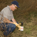 "A Wildlife Services ""biologist"" places an M-44 device."